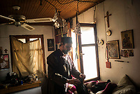 Mount Athos - The Holy Mountain.<br /> Father Iusif inside his bedroom at his cell in Karoulia.<br /> <br /> Photographer: Rick Findler
