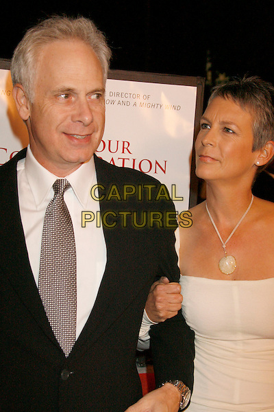 "CHRISTOPHER GUEST & JAMIE LEE CURTIS.""For Your Consideration"" Los Angeles Premiere held at the Directors Guild Of America, West Hollywood, California, USA..November 13th, 2006.Ref: ADM/RE.half length white black necklace black arms linked.www.capitalpictures.com.sales@capitalpictures.com.©Russ Elliot/AdMedia/Capital Pictures."