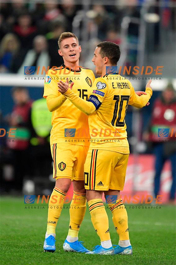 Goal of Eden Hazard midfielder of Belgium  <br /> Saint Petersbourg  - Qualification Euro 2020 - 16/11/2019 <br /> Russia - Belgium <br /> Foto Photonews/Panoramic/Insidefoto <br /> ITALY ONLY