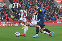 Blackburn Rovers Adam Armstrong in action with Stoke City's Danny Batth <br /> <br /> Photographer Mick Walker/CameraSport<br /> <br /> The EFL Sky Bet Championship - Stoke City v Blackburn Rovers - Saturday 30th November 2019 - bet365 Stadium - Stoke-on-Trent<br /> <br /> World Copyright © 2019 CameraSport. All rights reserved. 43 Linden Ave. Countesthorpe. Leicester. England. LE8 5PG - Tel: +44 (0) 116 277 4147 - admin@camerasport.com - www.camerasport.com