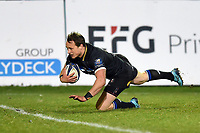 Jack Wilson of Bath Rugby dives for the try-line but the score is later ruled out. European Rugby Champions Cup match, between Bath Rugby and RC Toulon on December 16, 2017 at the Recreation Ground in Bath, England. Photo by: Patrick Khachfe / Onside Images