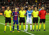 9th September 2017, Camp Nou, Barcelona, Spain; La Liga football, Barcelona versus Espanyol; Two captains Iniesta and Victor Sanchez  with the referees