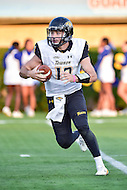 Newark, DE - OCT 29, 2016: Towson Tigers quarterback Triston Harris (12) rolls out of the pocket during game between Towson and Delaware at Delaware Stadium Tubby Raymond Field in Newark, DE. (Photo by Phil Peters/Media Images International)