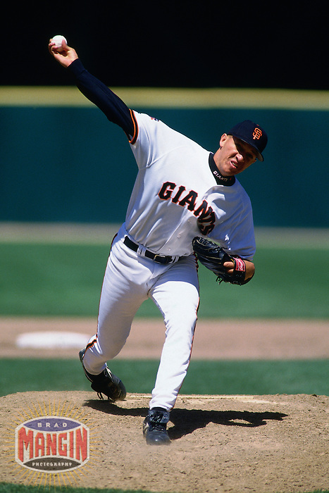 SAN FRANCISCO, CA - Julian Tavarez of the San Francisco Giants pitches during a game on April 23, 1997 at Candlestick Park in San Francisco, California. (Photo by Brad Mangin)