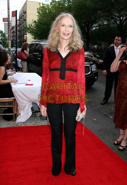 "MIA FARROW.Advance screening of ""The Omen"" at the Angel Orensanz Foundation, New York City, New York, USA..May 31st, 2006.Ref: IW.full length red top black lace trim trousers.www.capitalpictures.com.sales@capitalpictures.com.©Capital Pictures"