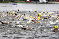 The start of the swimming leg of the NJ Devilman Triathlon on May 5, 2012 in Cumberland County, New Jersey.