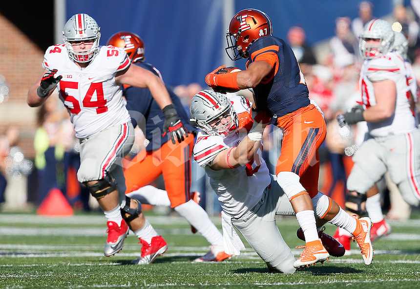 Ohio State Buckeyes tight end Nick Vannett (81) tackles Illinois Fighting Illini defensive back Caleb Day (7) as he returns an interception in the third quarter of the college football game between the Ohio State Buckeyes and the Illinois Fighting Illini at Memorial Stadium in Champaign, Ill., Saturday morning, November 14, 2015. The Ohio State Buckeyes defeated the Illinois Fighting Illini 28 - 3. (The Columbus Dispatch / Eamon Queeney)