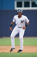 New York Yankees Isiah Gilliam (25) leads off first base during an Instructional League game against the Pittsburgh Pirates on September 29, 2017 at the Yankees Minor League Complex in Tampa, Florida.  (Mike Janes/Four Seam Images)