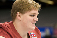 Barrett Jones of Alabama smiles while talking with the reporters during BCS Media Day at Mercedes-Benz Superdome in New Orleans, Louisiana on January 6th, 2012.