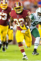 Landover, MD - August 16, 2018: Washington Redskins running back Samaje Perine (32) breaks free for a big gain during preseason game between the New York Jets and Washington Redskins at FedEx Field in Landover, MD. (Photo by Phillip Peters/Media Images International)