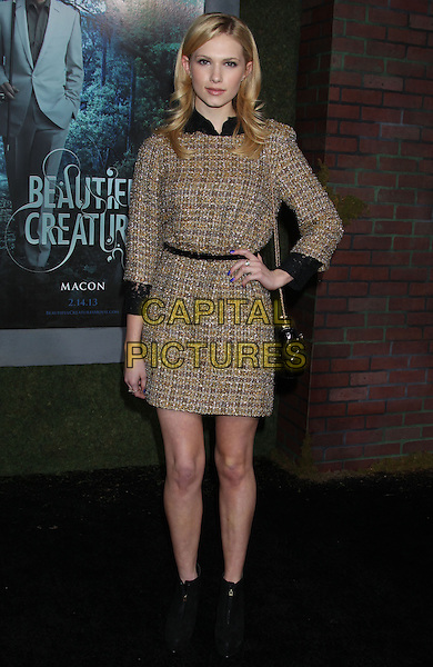 "Claudia Lee.""Beautiful Creatures"" Los Angeles Premiere held at the TCL Chinese Theatre, Hollywood, California, USA, .6th February 2013..full length black white hand on hip brown tweed dress  ankle boots  bag .CAP/ADM/RE.©Russ Elliot/AdMedia/Capital Pictures."