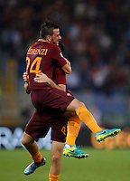 Calcio, Serie A: Roma vs Inter. Roma, stadio Olimpico, 2 ottobre 2016.<br /> Roma&rsquo;s Kostas Manolas, right, is hugged by his teammate Alessandro Florenzi after scoring the winning goal during the Italian Serie A football match between Roma and FC Inter at Rome's Olympic stadium, 2 October 2016. Roma won 2-1.<br /> UPDATE IMAGES PRESS/Isabella Bonotto