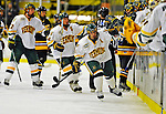 16 November 2008: University of Vermont Catamount forward Peter Lenes, a Senior from Shelburne, VT, celebrates a goal against the Merrimack College Warriors at Gutterson Fieldhouse, in Burlington, Vermont. The Catamounts defeated the Warriors 2-1 in front of a near-capacity crowd of 3,813...Mandatory Photo Credit: Ed Wolfstein Photo