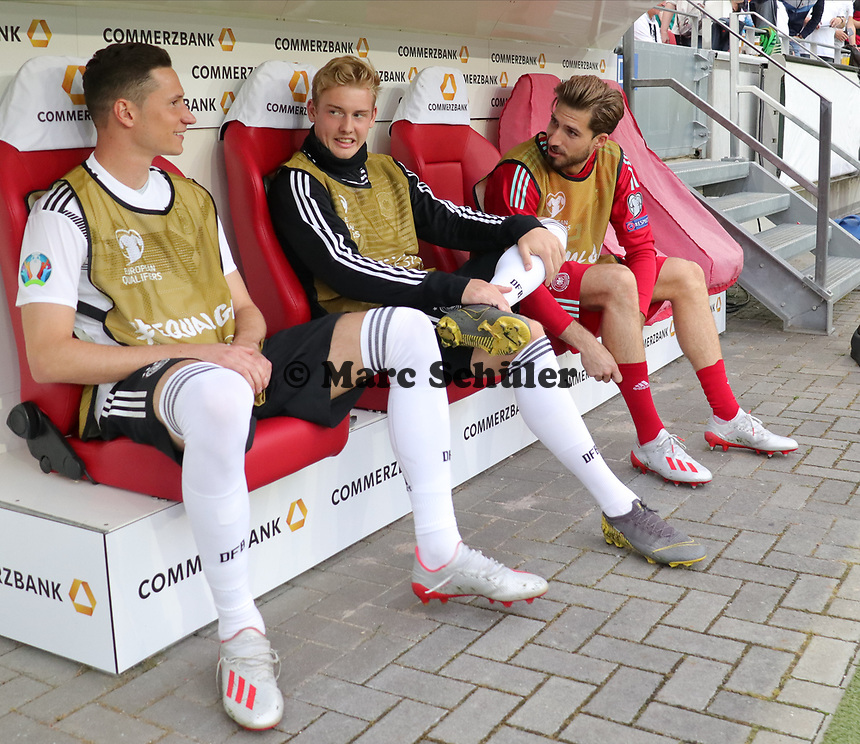 Julian Draxler (Deutschland, Germany), Serge Gnabry (Deutschland Germany), Torwart Kevin Trapp (Deutschland Germany) - 11.06.2019: Deutschland vs. Estland, OPEL Arena Mainz, EM-Qualifikation DISCLAIMER: DFB regulations prohibit any use of photographs as image sequences and/or quasi-video.