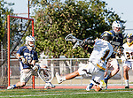 Tustin, CA 04/23/16 - Ryan Winn {La Costa Canyon #12), Jack Keen {La Costa Canyon #34) and Steven Oberly (Foothill #14) in action during the non-conference CIF varsity lacrosse game between La Costa Canyon and Foothill at Tustin Union High School.  Foothill defeated La Costa Canyon 10-9 in sudden death overtime.