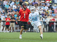 Baltimore, MD - April 28, 2018: Johns Hopkins Blue Jays Ryan Darby (5) in action during game between John Hopkins and Maryland at  Homewood Field in Baltimore, MD.  (Photo by Elliott Brown/Media Images International)