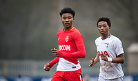 Khephren Thuram-Ulien of AS Monaco FC Youth & Tashan Oakley-Boothe of Spurs U19 during the UEFA Youth League round of 16 match between Tottenham Hotspur U19 and Monaco at Lamex Stadium, Stevenage, England on 21 February 2018. Photo by Andy Rowland.