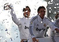 32.05.2012 SPAIN - 2012 Spain Festival celebration champion Real Madrid La Liga 32nd May 03rd. The picture show  Sami Khedira (German midfielder of Real Madrid),  Mesut Ozil (German midfielder of Real Madrid)