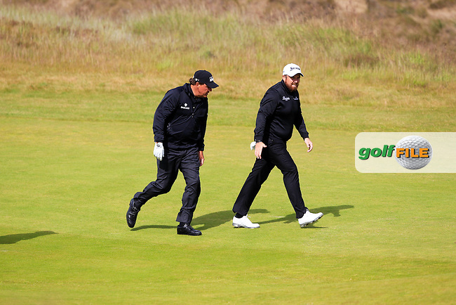 Phil Mickelson (USA) and Shane Lowry (IRL) during the first round of the Aberdeen Asset Management Scottish Open 2016, Castle Stuart  Golf links, Inverness, Scotland. 07/07/2016.<br /> Picture Fran Caffrey / Golffile.ie<br /> <br /> All photo usage must carry mandatory copyright credit (&copy; Golffile | Fran Caffrey)