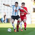 Hearts' David Smith holds off Dundee's Paul McGowan.