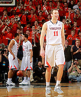 Virginia forward Evan Nolte (11) during the game Saturday Feb. 7, 2015, in Charlottesville, Va. Virginia defeated Louisville  52-47. (Photo/Andrew Shurtleff)
