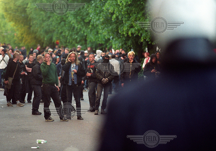 A demonstration held during an EU summit in Gothenburg exploded into violence. Anti-globalisation and anti-EU protesters clashed with police, who then fired live rounds which hit three people. Well known activist Stein Lillevolden in center of picture. June 2001
