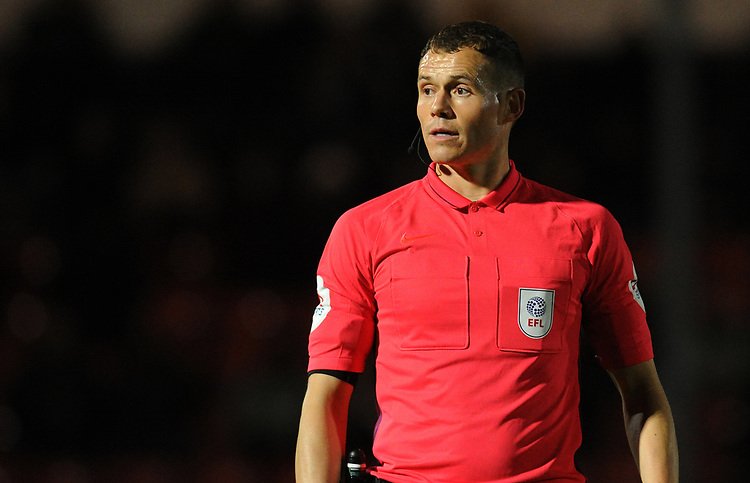 Referee Leigh Doughty<br /> <br /> Photographer Kevin Barnes/CameraSport<br /> <br /> EFL Leasing.com Trophy - Northern Section - Group F - Rochdale v Bolton Wanderers - Tuesday 1st October 2019  - University of Bolton Stadium - Bolton<br />  <br /> World Copyright © 2018 CameraSport. All rights reserved. 43 Linden Ave. Countesthorpe. Leicester. England. LE8 5PG - Tel: +44 (0) 116 277 4147 - admin@camerasport.com - www.camerasport.com