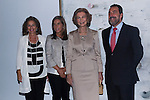20.09.2012. Queen Sofia of Spain, accompanied by the mayor of Madrid Ana Botella,  the Minister of Health, Social Services and Equality Ana Mato and the Foundation ONCE president, Miguel Carballeda, attend the inauguration of the IV Biennial of Contemporary Art Foundation ONCE, in the Conde Duque Cultural Centre in Madrid. In the image (L-R) Ana Botella, Ana Mato, Queen Sofia and Miguel Carballeda (Alterphotos/Marta Gonzalez)