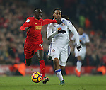 Sadio Mane of Liverpool tussles with Jason Denayer of Sunderland during the Premier League match at the Anfield Stadium, Liverpool. Picture date: November 26th, 2016. Pic Simon Bellis/Sportimage