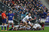 2nd February 2020, Stade de France, Paris; France, 6-Nations International rugby union, France versus England;  Willi Heinz (Eng) passes the ball out of the ruck