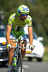 SITTARD, NETHERLANDS - AUGUST 16: Moreno Moser of Italy riding for Cannondale Pro Cycling competes during stage 5 of the Eneco Tour 2013, a 13km individual time trial from Sittard to Geleen, on August 16, 2013 in Sittard, Netherlands. (Photo by Dirk Markgraf/www.265-images.com)