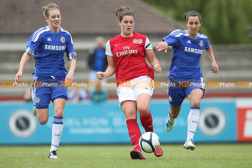 Jennifer Beattie of Arsenal evades Dania Susi of Chelsea - Arsenal Ladies vs Chelsea Ladies - FA Womens Super League Continental Cup Football at Boreham Wood FC - 10/06/12 - MANDATORY CREDIT: Gavin Ellis/TGSPHOTO - Self billing applies where appropriate - 0845 094 6026 - contact@tgsphoto.co.uk - NO UNPAID USE.