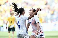 9th November 2019; Bankwest Stadium, Parramatta, New South Wales, Australia; International Womens Friendly Football, Australia versus Chile; Camila Saez of Chile is congratulated by Francisca Lara of Chile after scoring to make it 2-1 to Australia in the 89th minute - Editorial Use