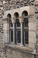 Detail of twin window in the Keep, Chateau Royal, Collioure, France. These are the windows of the living quarters of the Lords and their courtiers. Much of the castle was built in the 13th and 14th centuries by the Dukes of Roussillon and the Knights Templar. In the 16th century Collioure was under Spanish control and Philip II modernised and reinforced the castle. It was taken by the French in 1659 after which the bastions were built by Vauban (1633-1707). Picture by Manuel Cohen.