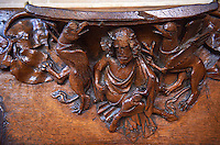 Misericords of the medieval Wells Cathedral built in the Early English Gothic style in 1175, Wells Somerset, England