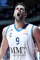 Real Madrid's Felipe Reyes celebrates during Euroleague 2012/2013 match.January 11,2013. (ALTERPHOTOS/Acero) NortePHOTO