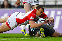Picture by Alex Whitehead/SWpix.com - 01/05/2014 - Rugby League - First Utility Super League - St Helens v London Broncos - Langtree Park, St Helens, England - St Helens' Matty Dawson scores a try.