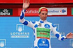 Davide Villela (ITA) Cannondale Drapac retains the mountains Polka Dot Jersey on the podium at the end of Stage 10 of the 2017 La Vuelta, running 164.8km from Caravaca A&ntilde;o Jubilar 2017 to ElPozo Alimentaci&oacute;n, Spain. 29th August 2017.<br /> Picture: Unipublic/&copy;photogomezsport | Cyclefile<br /> <br /> <br /> All photos usage must carry mandatory copyright credit (&copy; Cyclefile | Unipublic/&copy;photogomezsport)