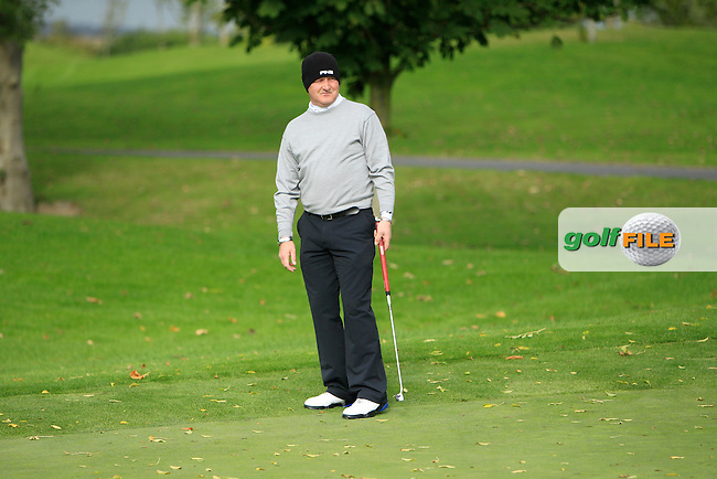 Kevin Foy (Stepaside G.C) on the 2nd green during Round 2 of The Cassidy Golf 103rd Irish PGA Championship in Roganstown Golf Club on Friday 11th October 2013.<br /> Picture:  Thos Caffrey / www.golffile.ie