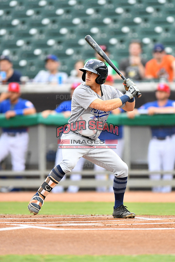 Pensacola Blue Wahoos left fielder T.J. Friedl (3) at bat during a game against the Tennessee Smokies at Smokies Stadium on August 30, 2018 in Kodak, Tennessee. The Blue Wahoos defeated the Smokies 5-1. (Tony Farlow/Four Seam Images)
