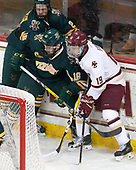 Ori Abramson (UVM - 27), Derek Lodermeier (UVM - 16), Ryan Fitzgerald (BC - 19) - The visiting University of Vermont Catamounts tied the Boston College Eagles 2-2 on Saturday, February 18, 2017, Boston College's senior night at Kelley Rink in Conte Forum in Chestnut Hill, Massachusetts.Vermont and BC tied 2-2 on Saturday, February 18, 2017, Boston College's senior night at Kelley Rink in Conte Forum in Chestnut Hill, Massachusetts.