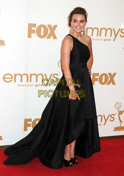 Aimee Teegarden.63rd Primetime Emmy Awards held at Nokia Theatre L.A. Live. Los Angeles, California, USA. .18th September 2011.emmys full length black one shoulder dress clutch bag.CAP/ADM/BP.©Byron Purvis/AdMedia/Capital Pictures.