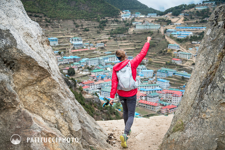 Happy and proud, arriving to Namche Bazar after trail running the 3 Passes Tour, Nepal.