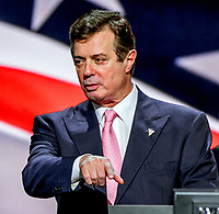 ***FILE PHOTO*** Paul Manafort Receives 90 months total in prison time after second sentence.<br /> Cleveland Ohio, USA, 21th July, 2016<br /> Paul Manafort, Donald Trump's campaign manager during sound checks at the podium of the Republican National Convention <br /> CAP/MPI/MRN<br /> &copy;MRNJ/MPI/Capital Pictures
