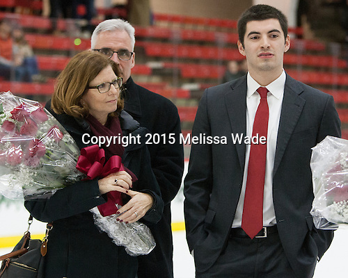 Jean McNally, Thomas McNally, Patrick McNally (Harvard - 8) - The Harvard University Crimson defeated the visiting Princeton University Tigers 5-0 on Harvard's senior night on Saturday, February 28, 2015, at Bright-Landry Hockey Center in Boston, Massachusetts.
