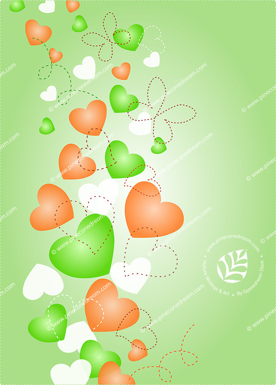 Vector background with Indian flag color hearts and art, illustration.<br /> <br /> Suitable for Indian Independence day, Republic day or other patriotic themes.<br /> <br /> This image is also available as scalable EPS and PNG format.