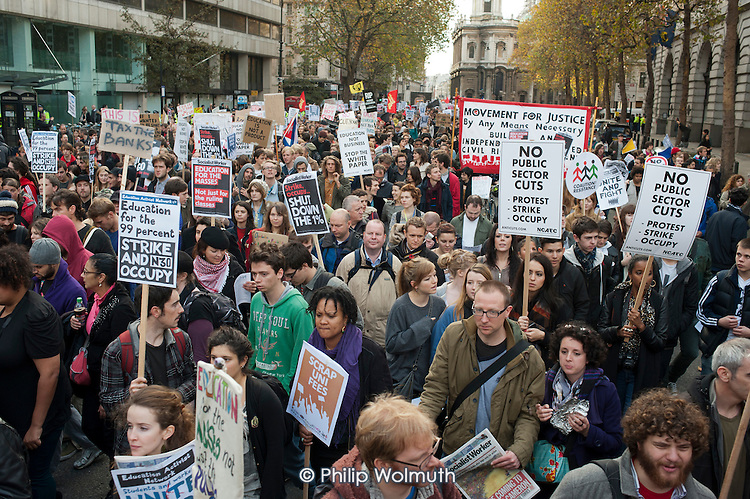 National Campaign against Fees and Cuts march through the City of London.