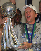 Frank Yallop hold the Alan I. Rothenberg Trophy after the San Jose Earthquakes defeated the Chicago Fire 4-2 in the MLS Championship at The Home Depot Center on November 23, 2003.