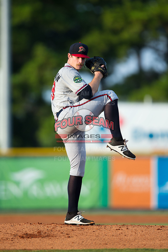 Danville Braves starting pitcher Bruce Zimmerman (28) in action against the Burlington Royals at Burlington Athletic Stadium on August 14, 2017 in Burlington, North Carolina.  The Royals defeated the Braves 9-8 in 10 innings.  (Brian Westerholt/Four Seam Images)