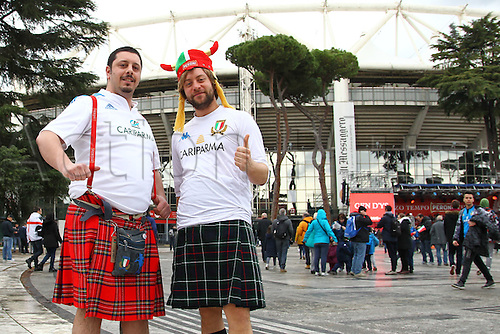 27.02.2016. Stadio Olimpico, Rome, Italy. RBS Six Nations Championships. Italy versus Scotland. Scottish fans in good form